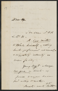 Wendell Phillips autograph letter signed to Thomas Wentworth Higginson, [26 October 1859]