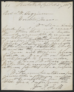 William S. Falls autograph letter signed to Thomas Wentworth Higginson, Rochester, N.Y., 27 October 1859