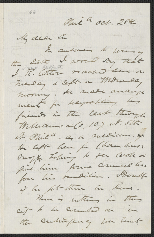 James Miller M'Kim autograph letter signed to [Thomas Wentworth Higginson], Philadelphia, 28 October [1859]