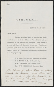 Thomas Wentworth Higginson circular letter, Boston, 2 November 1859
