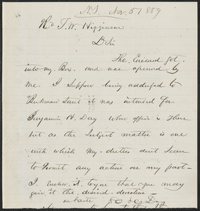 Horace H. Day autograph note signed to Thomas Wentworth Higginson, N.Y., 5 November 1859