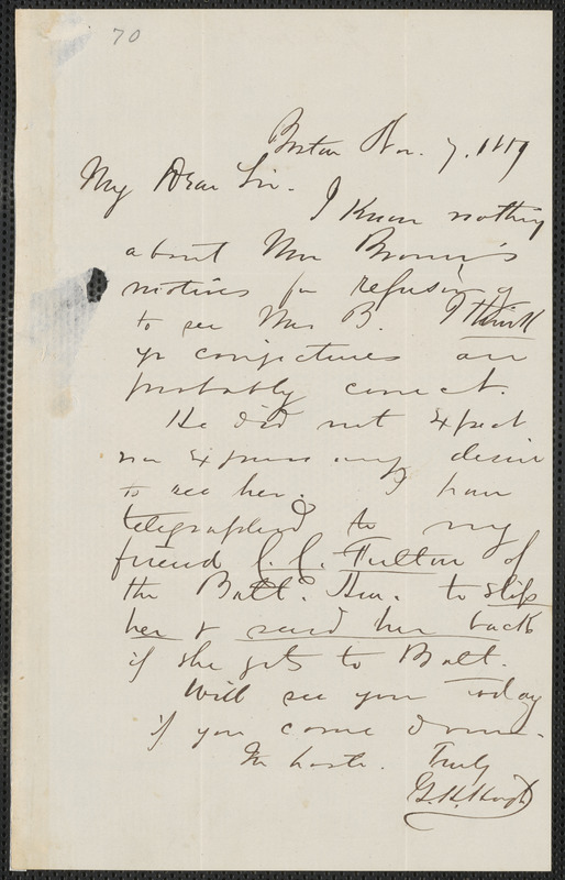 George H. Hoyt autograph letter signed to [Thomas Wentworth Higginson], Boston, 7 November 1859