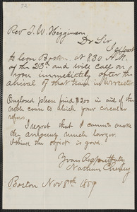 Cheney, Nathan autograph letter signed to Thomas Wentworth Higginson, Boston, 8 November 1859