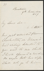 S. G. Howe letter signed to [Thomas Wentworth Higginson], Boston, 9 November 1859