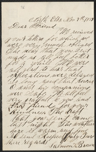 Salmon Brown autograph letter signed to [Thomas Wentworth Higginson], North Elba, [N.Y.], 9 November 1859