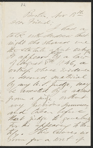 F. B. Sanborn autograph letter to [Thomas Wentworth Higginson], Boston, 13 November [1859]