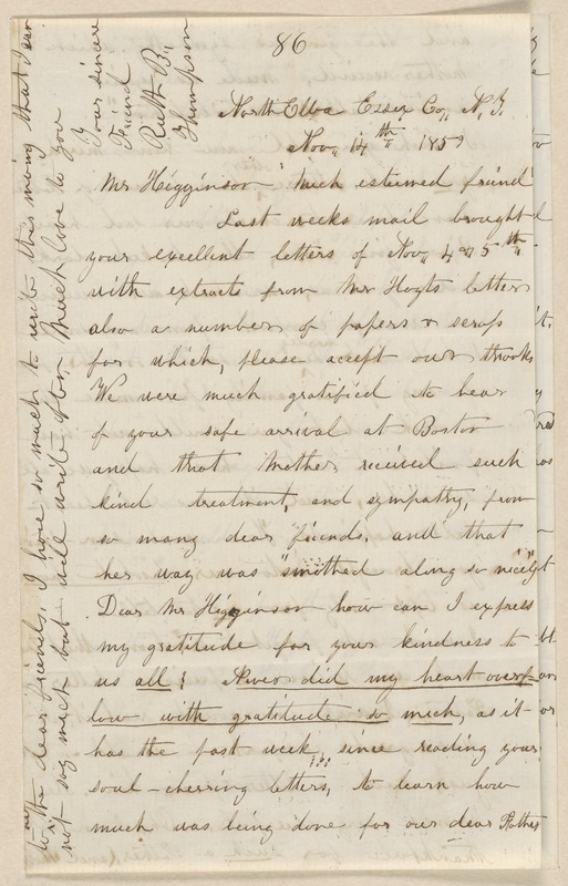 Ruth Brown Thompson autograph letter signed to Thomas Wentworth Higginson, North Elba Essex Co., N.Y., 14 &16 November 1859