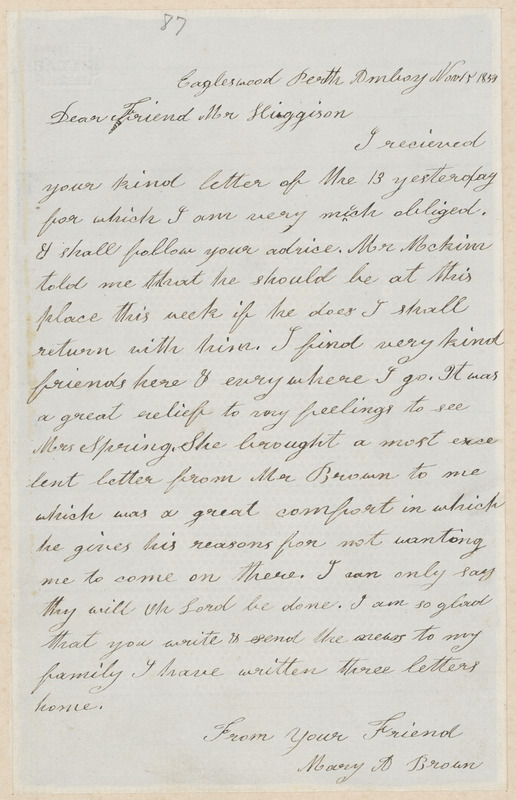 Mary Anne Day Brown autograph letter signed to Thomas Wentworth Higginson, Eagleswood, Perth Amboy [N.J.], 15 November 1859
