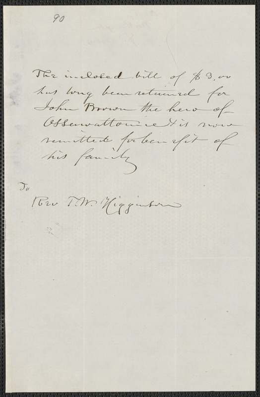 Anonymous autograph note to Thomas Wentworth Higginson, [Northampton., approximately November 1859]