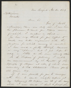 Henry B. Clarke autograph letter signed to Thomas Wentworth Higginson, New Bedford, 16 November 1859