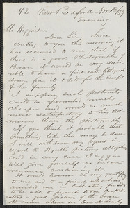Henry B. Clarke autograph letter signed to Thomas Wentworth Higginson, New Bedford, 16 November [18]59