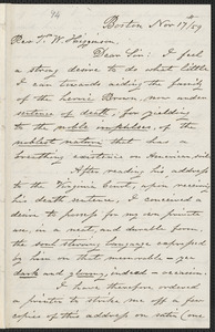 Carnes, George W. autograph letter signed to Thomas Wentworth Higginson, Boston, 17 November [18]59