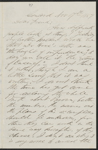 F. B. Sanborn autograph letter to [Thomas Wentworth Higginson], Concord, 17 November 1859