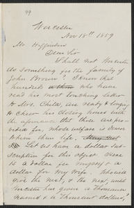 H. L. Wayland autograph letter signed to Thomas Wentworth Higginson, Worcester, 18 November 1859
