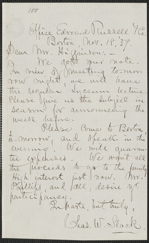 Charles W. Slack autograph letter signed to Thomas Wentworth Higginson, Boston, 18 November 1859