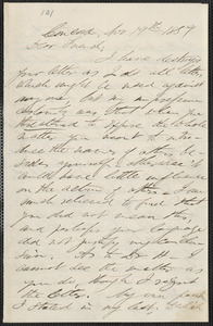 F. B. Sanborn autograph letter signed to [Thomas Wentworth Higginson], Concord, 19 November 1859