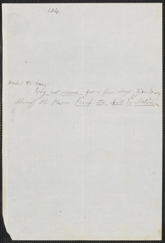 Anonymous autograph note to Thomas Wentworth Higginson, Snow's Store, Vt., 10 December [1859]
