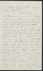 F. B. Sanborn autograph letter signed to [Thomas Wentworth Higginson], Boston, 5 January 1857