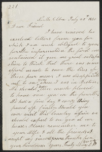 Mary Anne Day Brown autograph letter signed to [Thomas Wentworth Higginson], North Elba, [N.Y.], 25 July 1860
