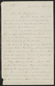 Elisabeth E. Tidd autograph letter signed to Thomas Wentworth Higginson, Brookline, 20 October [18]60