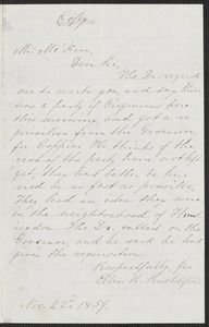 Ellen R. Rutherford letter to James Miller M'Kim, 22 November 1859