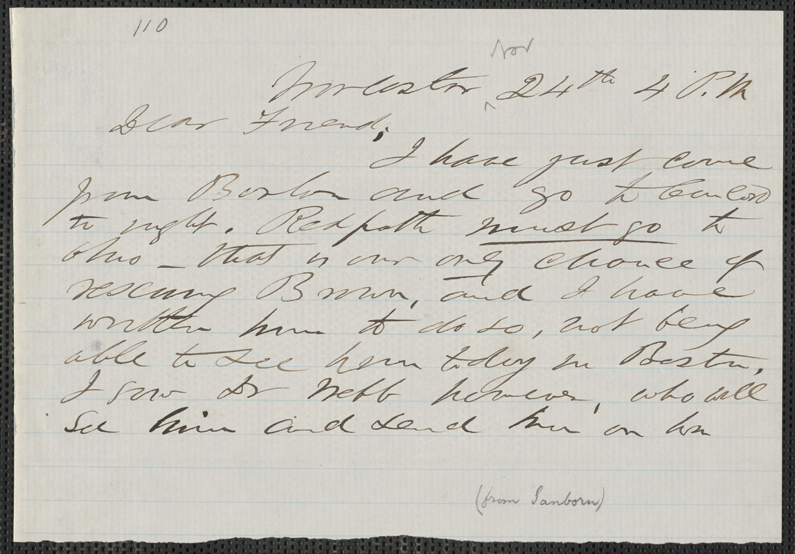 F. B. Sanborn autograph note to [Thomas Wentworth Higginson], Worcester, 24 [November 1859]