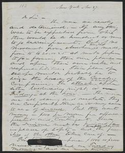 John W. LeBarnes autograph letter to [Thomas Wentworth Higginson], New York, 27 November [1859]