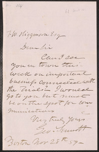 George Sennott autograph letter signed to Thomas Wentworth Higginson, Boston, 28 November [18]59