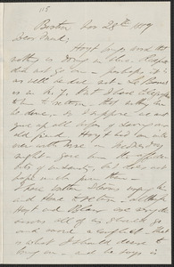 F. B. Sanborn autograph letter signed to [Thomas Wentworth Higginson], Boston, 28 November 1859