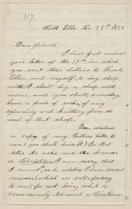 Annie Brown Adams autograph letter signed to Thomas Wentworth Higginson, North Elba, [N.Y.], 29 November 1859