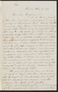 Elisabeth E. Tidd autograph letter signed to Thomas Wentworth Higginson, Clinton, 5 December [18]59