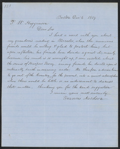 Francis Jackson autograph letter signed to Thomas Wentworth Higginson, Boston, 6 December 1859
