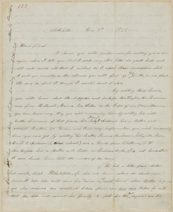 Annie Brown Adams autograph letter signed to Thomas Wentworth Higginson, North Elba, N.Y., 9 December 1859