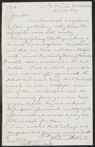Thomas Hopkins Webb autograph letter signed to Thomas Wentworth Higginson, Boston, 10 December 1859