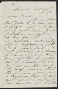 F. B. Sanborn autograph letter to [Thomas Wentworth Higginson], Concord, 20 December 1859