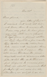 Annie Brown Adams autograph letter signed to Thomas Wentworth Higginson, [North Elba, N.Y.], 21 December [1859]