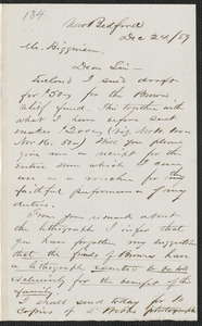 Henry B. Clarke autograph letter signed to Thomas Wentworth Higginson, New Bedford, 24 December [18]59