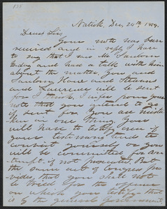 Henry Wilson autograph letter signed to Thomas Wentworth Higginson, Natick, 24 December 1859