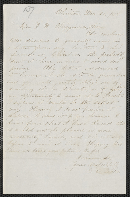 Elisabeth E. Tidd autograph note signed to Thomas Wentworth Higginson, Clinton, 25 December [18]59