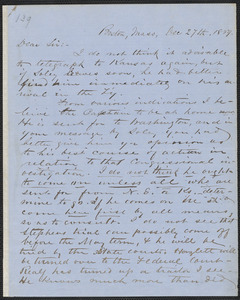Richard J. Hinton autograph letter signed to Thomas Wentworth Higginson, Boston, 27 December 1859