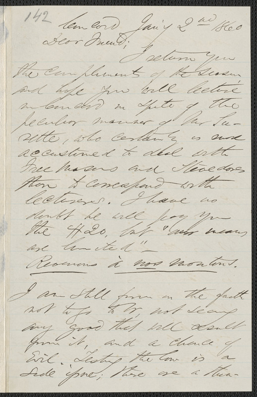 F. B. Sanborn autograph letter signed to [Thomas Wentworth Higginson], Concord, 2 January 1860