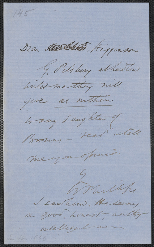 Wendell Phillips autograph note signed to Thomas Wentworth Higginson, [16 January 1860]