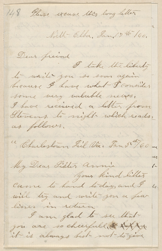 Annie Brown Adams autograph letter signed to Thomas Wentworth Higginson, North Elba, [N.Y.], 17 January [18]60