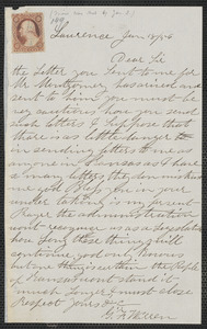 G. F. Warren autograph letter signed to [Thomas Wentworth Higginson], Lawrence [Kansas], 18 January [1860]