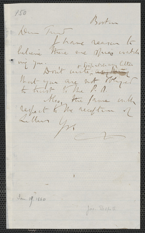 James Redpath autograph note to [Thomas Wentworth Higginson], Boston, [19 January 1860]