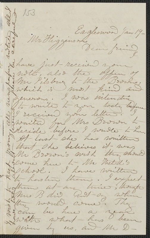 Rebecca Buffum Spring autograph letter signed to [Thomas Wentworth Higginson], Eagleswood [Perth Amboy, N.J.], 19 January [1860]