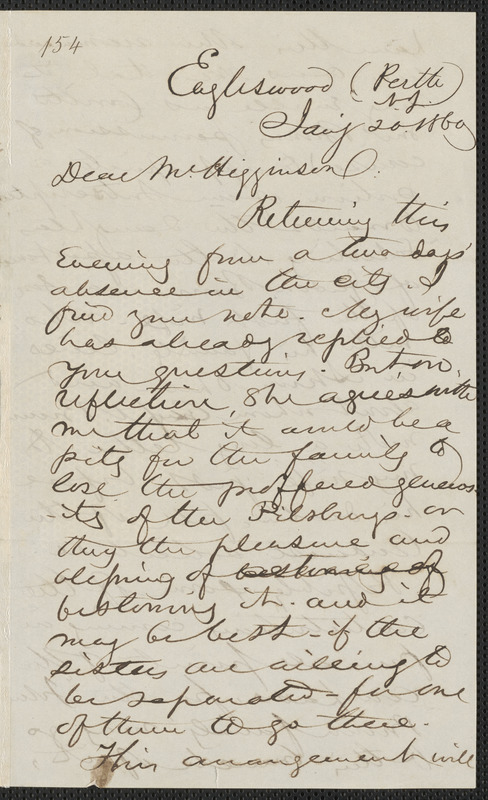 Marcus Spring autograph letter signed to Thomas Wentworth Higginson, Eagleswood, Perth Amboy N.J., 20 January 1860