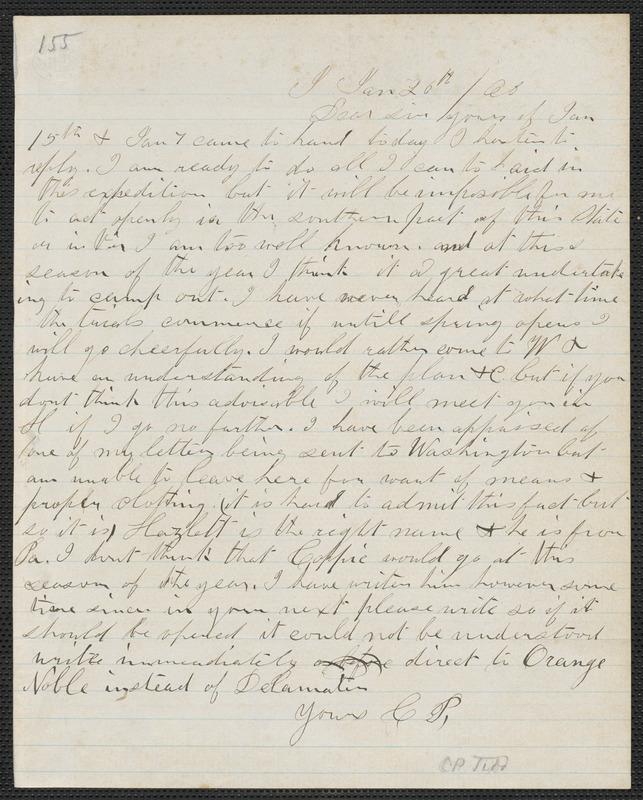 Charles Plummer Tidd autograph letter signed to [Thomas Wentworth Higginson], 20 January [18]60