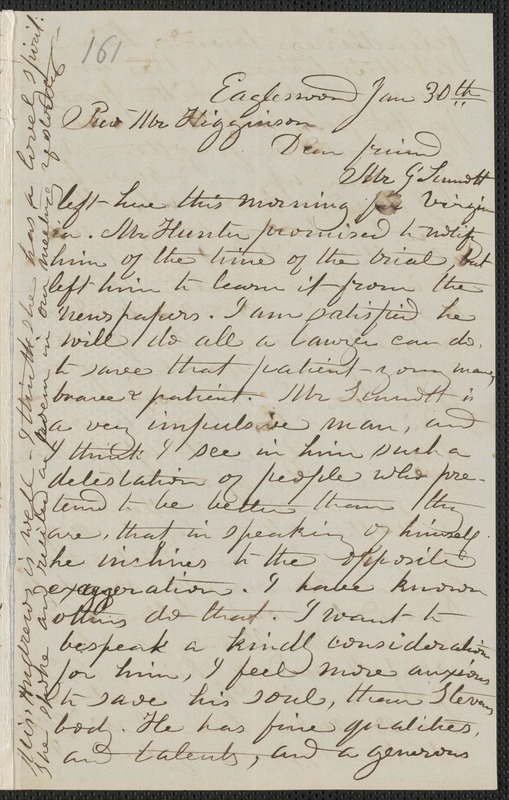 Rebecca Buffum Spring autograph letter signed to Thomas Wentworth Higginson, Eagleswood [Perth Amboy, N.J.], 30 January [1860]