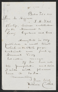 William C. Nell autograph letter signed to Thomas Wentworth Higginson, Boston, 6 February 1860
